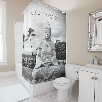 Just Breathe Hawaii Buddha Black White Photo Shower Curtain