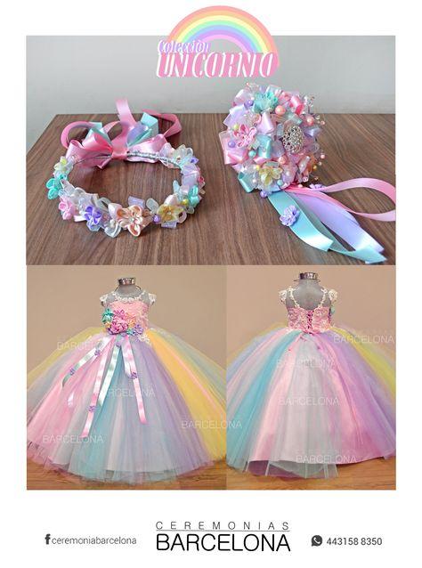 Vestido Unicornio Para Niña Y Accesorios Inspirado En La