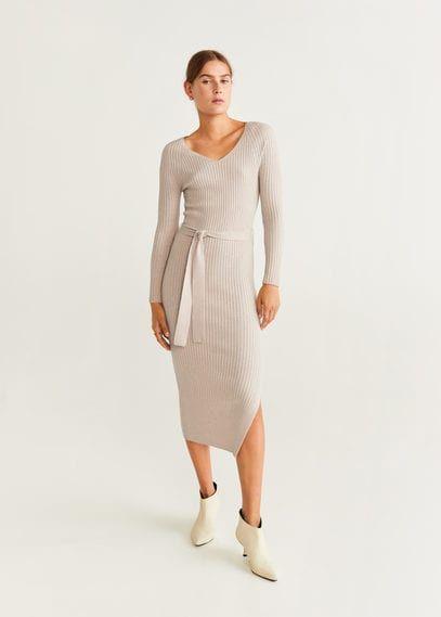 Mango Female Belt Ribbed Dress Sand Mango Sand 10 Ribbed Dresses Knit Fashion Knitwear Dress