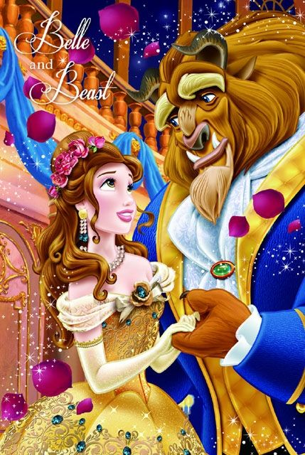 Disney Princess Belle and Beast 3D Lenticular Card. Miss Girlie Girl - Premium Greeting Cards & Gift.
