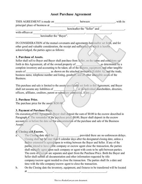Sample Asset Purchase Agreement Form Template  Business