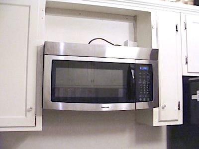 Over The Range Microwave Design I Like Bead Board Back And Shelf A Good Solution To Hide Vent Hood Kitchen Inspiration Pinterest