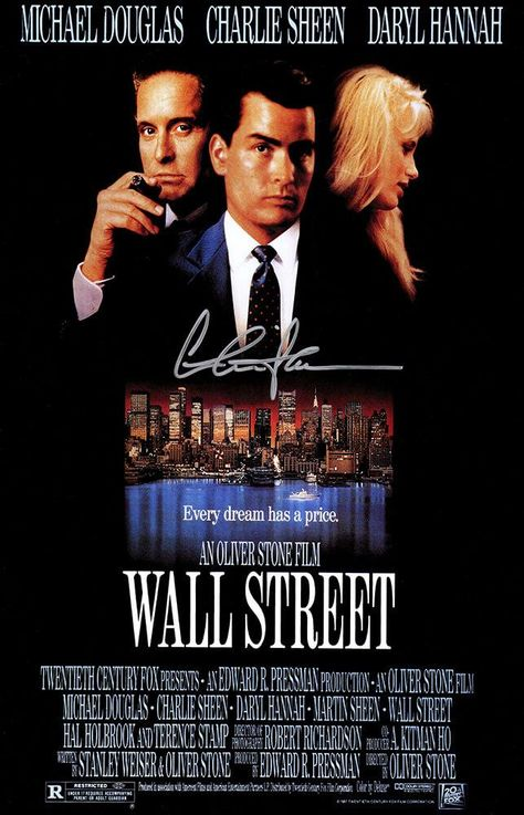 Charlie Sheen Signed Wall Street Movie Poster