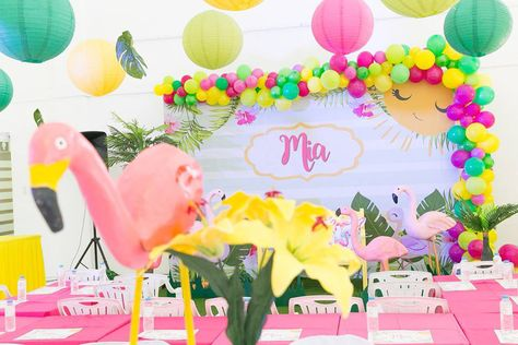 Tropical Flamingo themed party decorations by PartyDish