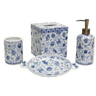 overstock blue and white florettes porcelain bath accessory 4 piece set this porcelain bath accessory set with a white and blue floral patter - White Bathroom Accessories Ceramic
