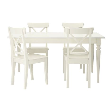 Eettafel En Stoelen Ikea.Ingatorp Ingolf Tafel En 4 Stoelen Wit 155 Cm Eettafel