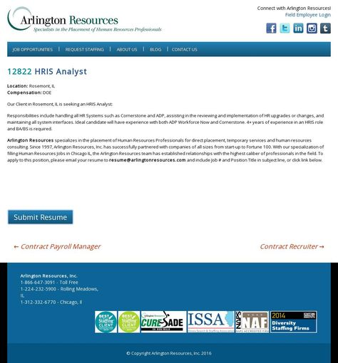The website u0027   wwwarlingtonresources job-opening hris - hris analyst resume