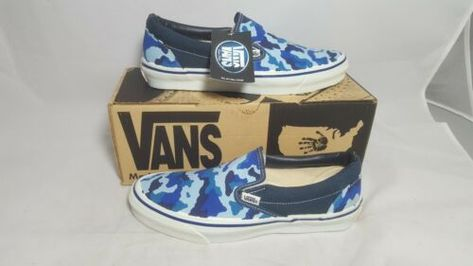 7b448dc4c3 Vintage Vans SLIP ON Shoes BLUE CAMO made in USA Men s Size 9.5 NOS 90s sk8  HI
