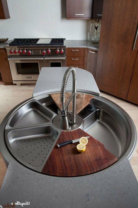 runde Küchenspüle mit beweglichem Wasserhahn und fünf Fächern - wasserhahn für küchenspüle