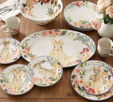 Photo of Floral Bunny Salad Plates, Set of 4 – Assorted