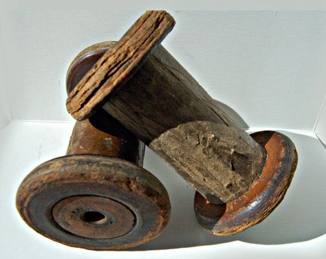 Pair vintage French wooden large industrial spools