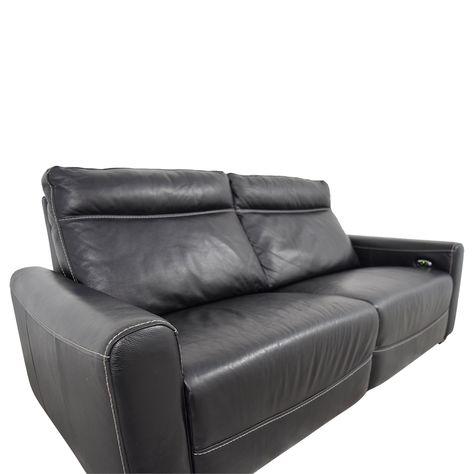 80% OFF Macys Macys Black Leather Reclining Sofa Sofas
