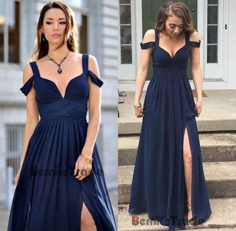 Azul Marino Chifón Vestido para Baile de graduación Fiesta Noche Largo Ropa  Formal Dama de honor vestido de  6d74822d7429
