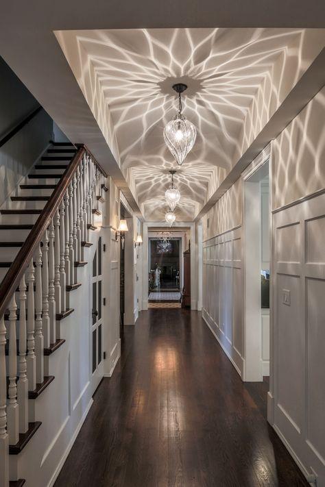 Not just an ordinary hallway!  Venetian Lighting - Goccia Pendants. #MadeinItaly #designerlighting #Italianinspiration