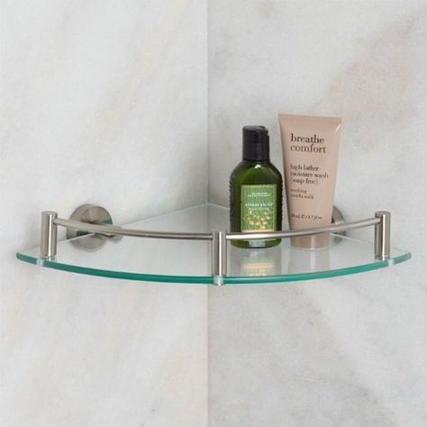 Nifty Shape Of Glass Bathroom Shelves Brushed Nickel Interior
