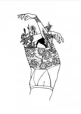 Inner Beauty Minimalism White Black Girl Floral Desenho
