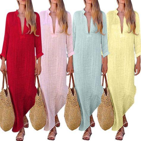 Long Sleeve Loose Women Linen Boho Maxi V-Neck Kaftan Cotton Dress