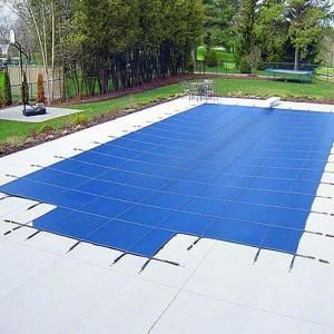 Waterwarden 20 Ft X 40 Ft Rectangle Blue Solid In Ground Safety Pool Cover Center End Step Scsb2040cs The Home Depot Pool Safety Covers Pool Safety In Ground Pools