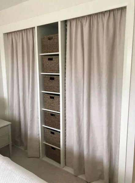 Bedroom Wardrobe Curtain Built Ins 70 Ideas In 2020 Diy Closet Doors Curtains For Closet Doors Curtains Living Room Country