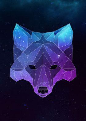 Galaxy Fox Animals Poster Print Metal Posters Geometric Art Animal Galaxy Artwork Geometric Animals