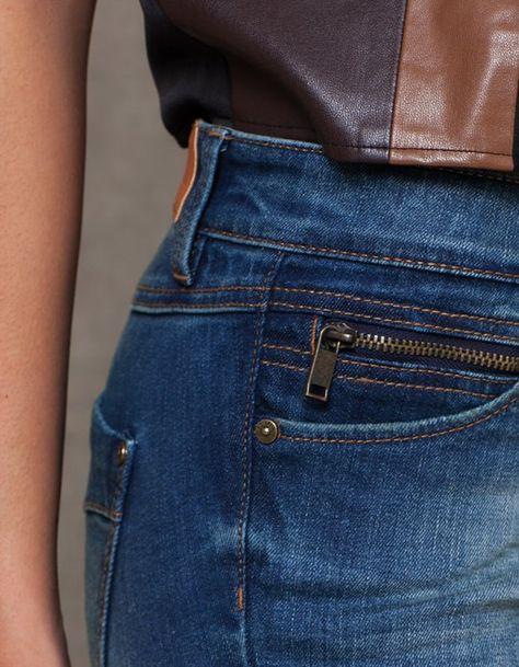 Pantalon denim poche briquet - VÊTEMENTS - FEMME | Stradivarius France