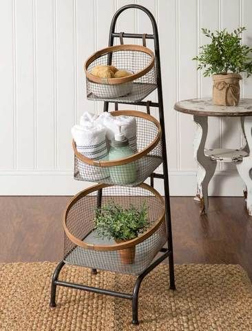 3 Tier Wire Basket Storage Floor Stand Farmhouse Baskets Rustic Furniture Farmhouse Decor
