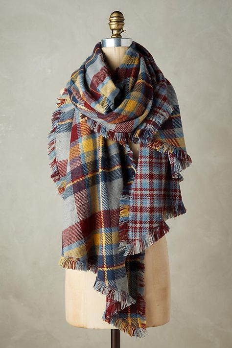 Love this navy plaid blanket scarf