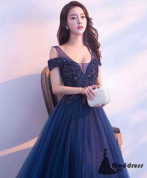 Applique Long Prom Dress Off the Shoulder Tulle Evening Dress A-Line Formal Dress,HS521 - US12 / Pic color