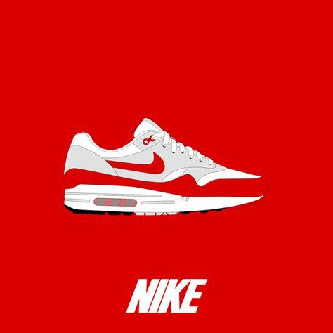 best service 01554 83083  illustrator  vector  color  bezier  courbe  curve  nike  airmax  airmaxone   airmax1  am1  red  white  bubble  bubble  virgule  swoosh  sneakers ...