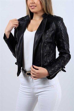 Kapitone Detay Siyah Bayan Deri Mont 9765b Moda Stilleri Giyim Mont