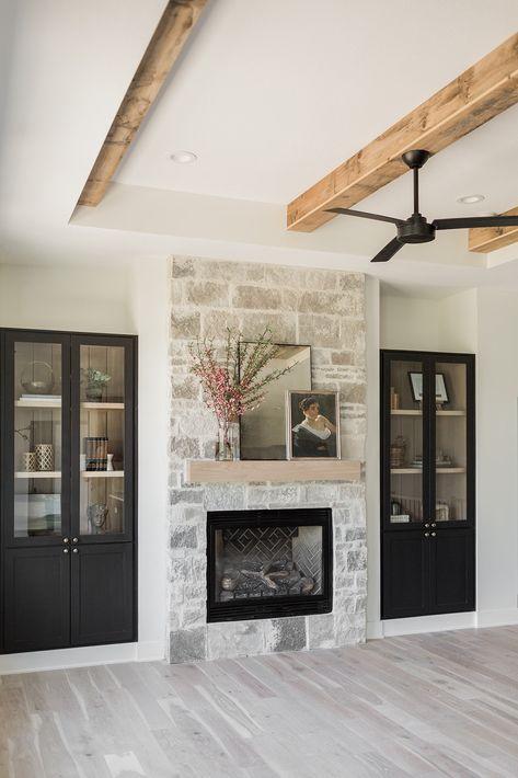 Home - Oakstone Homes Stone Fireplace Decor, Farmhouse Fireplace, Home Fireplace, Fireplace Remodel, Modern Fireplace, Fireplace Design, Fireplace Decorations, Fireplace Ideas, Fireplace In Kitchen