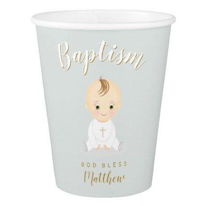 Baptism Baby Boy Paper Cup Zazzlecom Boy Gifts Baby