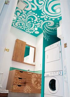 Diy Bathroom Stenciled ceiling. Add some glamour to the laundry room / powder room?
