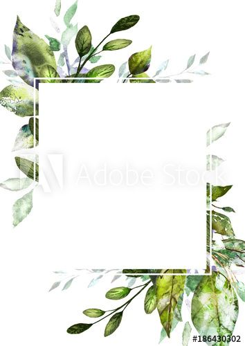Card Watercolor Invitation Design With Leaves Background With