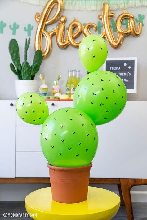 Fiesta Ideas - Cactus Balloons - Fun cactus themed party for kids with festive decorations and party supplies. Check out momoparty. Mexican Birthday Parties, Mexican Fiesta Party, Fiesta Theme Party, 30th Birthday Party Themes, 2nd Birthday, Mexico Party Theme, Fiesta Party Centerpieces, Birthday Ideas For Kids, Birthday Party Ideas For Adults