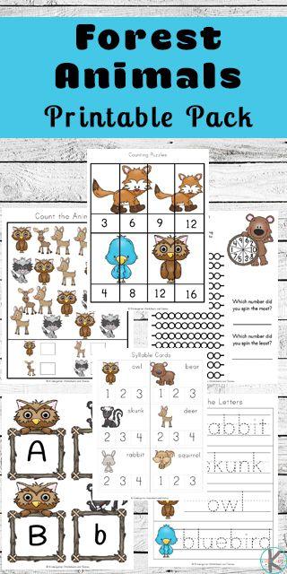 Forest Animals Worksheets | Matemātika | Animal worksheets