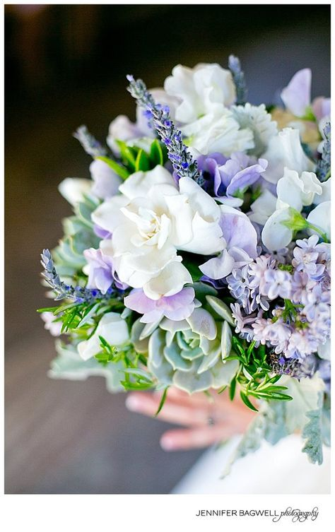 Beautiful bouquet with Succulents, Lavender, Lilac and Gardenias.   by Gavita Flora #flowers #herb #bouquet