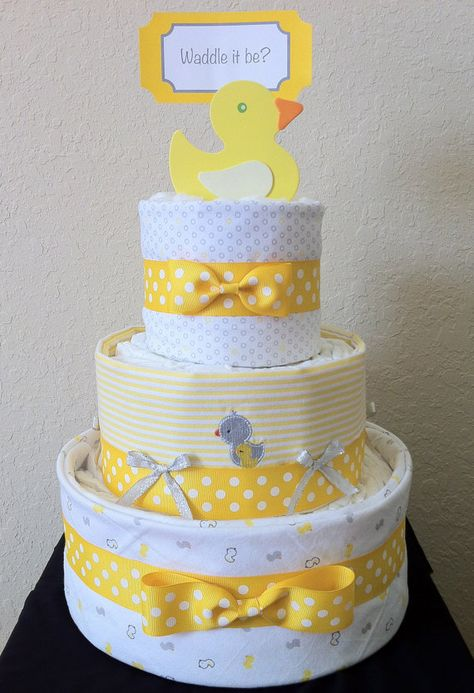Yellow White and Gray Ducky 3 Tier Diaper Cake by MakelleDesigns