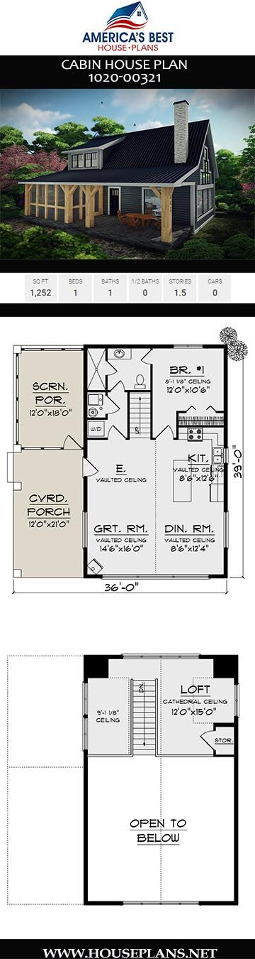 House Plan 1020 00321 Cabin Plan 1 252 Square Feet 1 Bedroom 1 Bathroom Vacation House Plans Cabin House Plans Cabin Plans