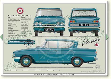 Ford Consul Classic 315 1 340cc 1961 62 Classic Car Portrait Print