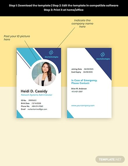 It Services Company Id Card Template Pdf Word Doc Psd Apple Mac Pages Illustrator Id Card Template Company Id It Services Company