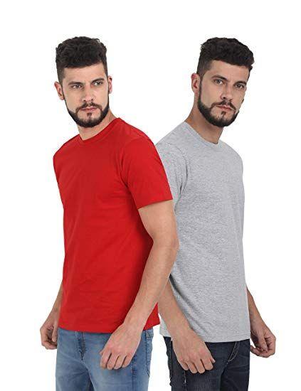 Quco Men's Cotton Half Sleeve Round Neck T-Shirt Combo   Neck t ...