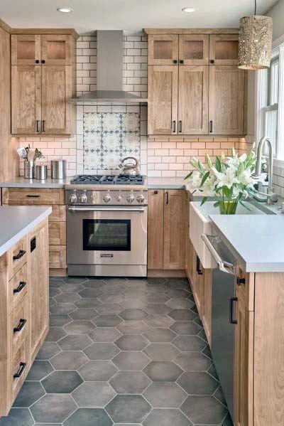 Top 50 Best Kitchen Floor Tile Ideas Flooring Designs In 2020 Brown Kitchen Cabinets Kitchen Backsplash Designs Farmhouse Kitchen Design