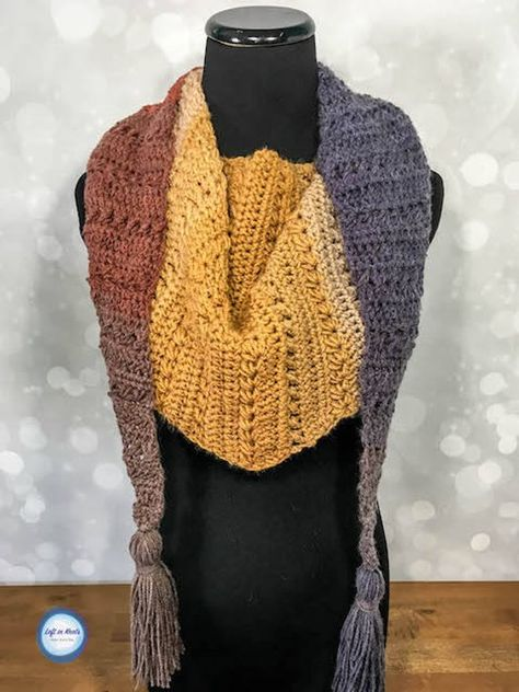 d3ab7cc4d036c Crunching Leaves Mod Scarf Crochet Pattern PDF Triangle Scarf