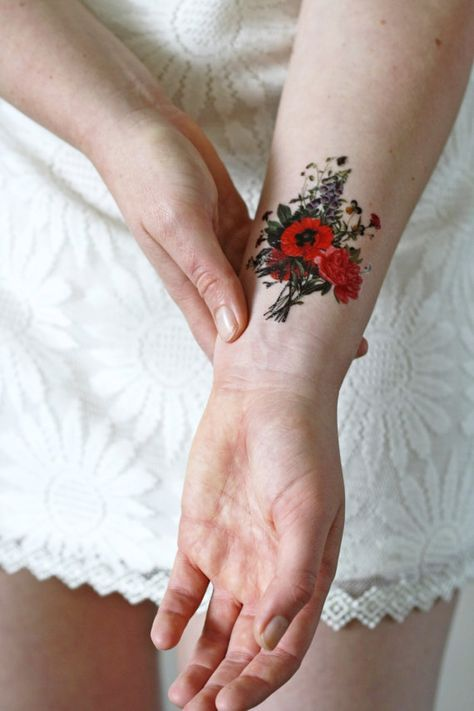 2575e405d Floral vintage temporary tattoo / floral temporary tattoo / flower ...