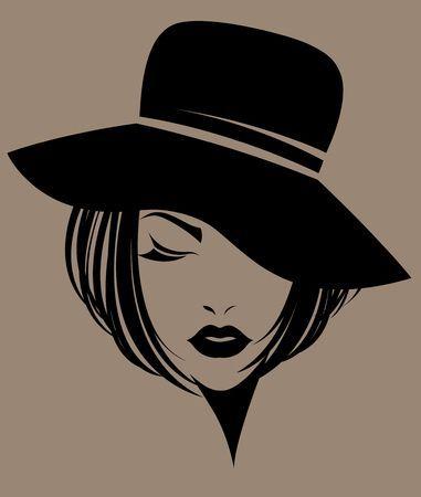 Vinilo Decorativo Silueta Mujer Con Sombrero Y Bolsas