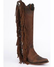 Liberty Black Women's Vegas T-Moro Fringe Cowgirl Boots - Pointed Toe ,