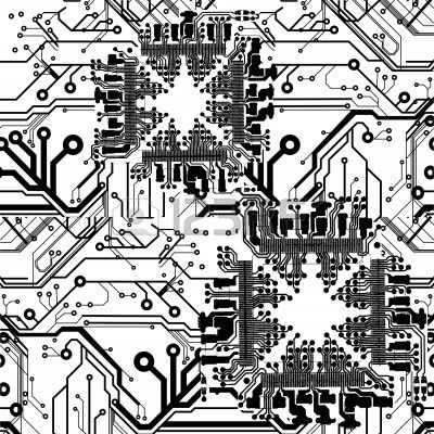 Electronic Industrial High Tech Circuit Board Vector Background In