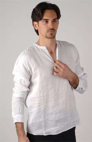 eb4b80d06638 Long sleeve White linen shirt -  65 - looks very