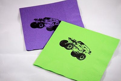 I made a custom stamper to make these Monster Jam themed napkins for my son's 4th birthday party.  I'm going  to make them again with Noah's Ark for my youngest turning 1 this spring.